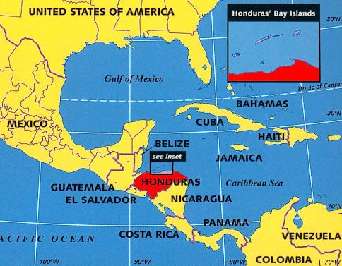 Honduras On Map My Blog - Map of honduras